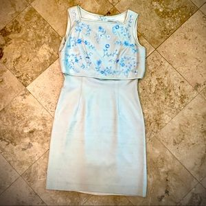 Kay Unger Vintage Mint Beaded Embroidered Dress 6